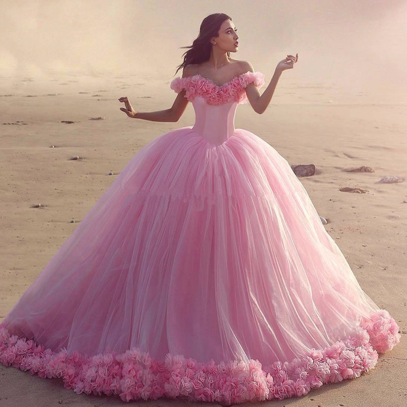 Pink Ball Gowns Quinceanera Dresses 2017 With 3D Flower Appliqued ...